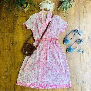 Vintage 1940s Silk Blend Rose Print Day Dress